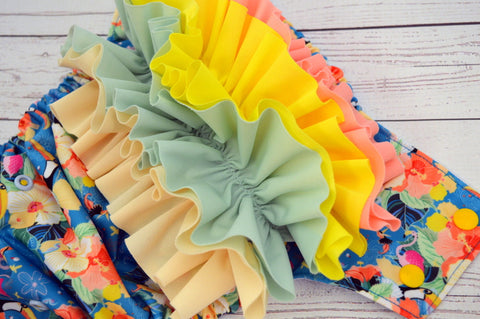 Aloha Toucan with RUFFLES (Inner- Light Blue, Snaps- Marigold Caps, Light Blue Pieces)<br>Traditional, One Size Pocket Diaper<br>Instock and Ready to Ship