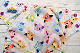 Pastel Owls (lavender awj, violet snaps) <br>Traditional, One Size Pocket Diaper<br>Instock and Ready to Ship