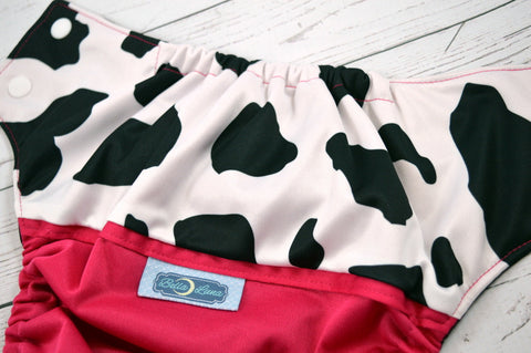 Magenta Milkshake (magenta outer, two-toned snaps - white caps / black pieces)<br>Wrap Around, One Size Pocket Diaper<br>Instock and Ready to Ship