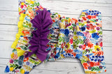Watercolor Floral WITH COORDINATING RUFFLE (violet awj, two toned snaps; marigold caps, violet pieces) <br>Traditional, One Size Pocket Diaper<br>Instock and Ready to Ship