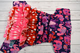 Purple Elephants WITH COORDINATING RUFFLE (violet awj & snaps) <br>Traditional, One Size Pocket Diaper<br>Instock and Ready to Ship