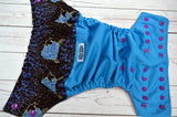 Counting Sheep (aqua pul, violet awj & snaps) <br>Wrap Around, One Size Pocket Diaper<br>Instock and Ready to Ship