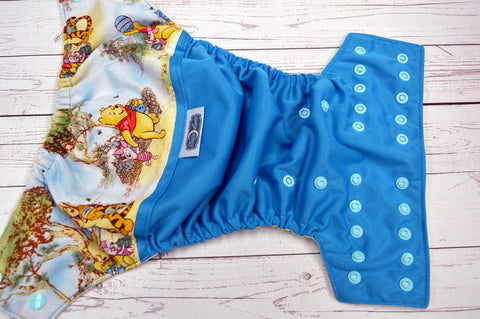 Autumn Honey Pot (aqua pul, butter awj, seaspray snaps) <br>Wrap Around, One Size Pocket Diaper<br>Instock and Ready to Ship