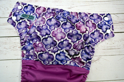 Moroccan Mosaic PK Half & Half (white awj, two toned snaps; white caps, violet pieces) <br>Wrap Around, One Size Pocket Diaper<br>Instock and Ready to Ship