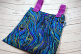 "Peacock Waves, 12"" x 14"" Designer Printed Double Hanging Wetbag<br>Instock and Ready to Ship"