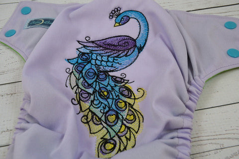 Peacock Mehndi (lavender outer, two-toned snaps - aqua caps / violet pieces) <br>Embroidered, One Size Pocket Diaper<br>Instock and Ready to Ship