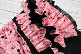 Pink Roses with Black Accent PUL Half & Half WITH COORDINATING RUFFLE (black awj & snaps) <br>Wrap Around, One Size Pocket Diaper<br>Instock and Ready to Ship