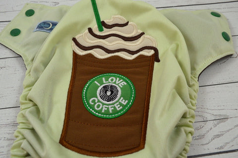 Celery Mocha Latte (Celery outer, kelly caps / brown pieces) <br>Embroidered, One Size Pocket Diaper<br>Instock and Ready to Ship