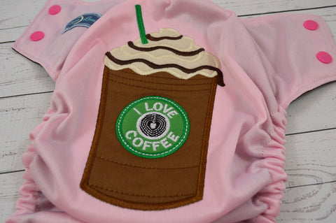 Light Pink Mocha Latte (light pin outer, hot pink caps / brown pieces) <br>Embroidered, One Size Pocket Diaper<br>Instock and Ready to Ship