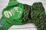 Dino Bones & Scales (brown awj & snaps)<br>Embroidered Half & Half, One Size Pocket Diaper<br>Instock and Ready to Ship