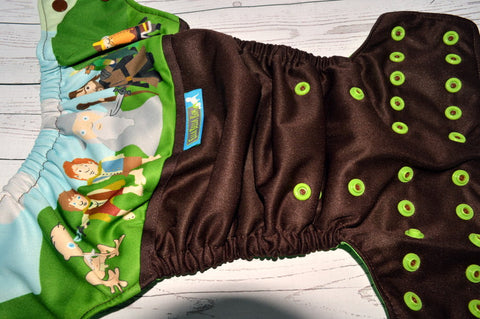 Quest For The Ring, (Brown Outer, Two Toned Snaps -Chocolate Caps/Spring Green Pieces)<br>Wrap Around, OS Pocket Diaper<br>Instock and Ready to Ship