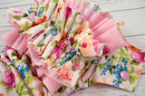 Newborn Chelsea Floral w/ RUFFLE (light pink snaps) <br>Traditional, One Size Pocket Diaper<br>Instock and Ready to Ship