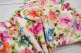 Newborn/Size 1- Chelsea Floral ( light pink snaps )<br>Traditional Size One Pocket Diaper<br>Instock and Ready to Ship