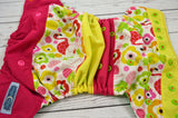 Peacock Summer WITH RUFFLE SNAPS (spring green awj, two toned snaps; orange caps/apple pieces)<br>Boutique Scrappy, One Size Pocket Diaper<br>Instock and Ready to Ship