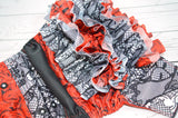 Red Roses & Lace WITH RUFFLES (two-toned snaps - white caps / black pieces)<br>Boutique Scrappy, One Size Pocket Diaper<br>Instock and Ready to Ship