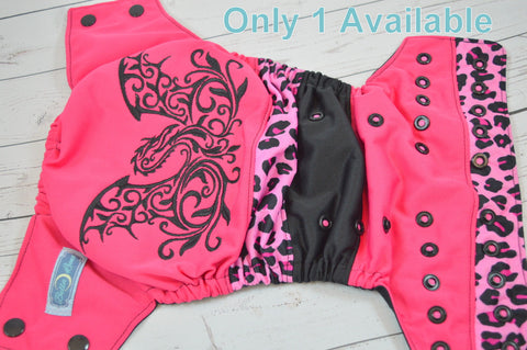 Magenta Crystal Dragon (embriodered bum, two-toned snaps - hot pink / black pieces)<br>Embroidered Bella Bum Scrappy, One Size Pocket Diaper<br>Instock and Ready to Ship