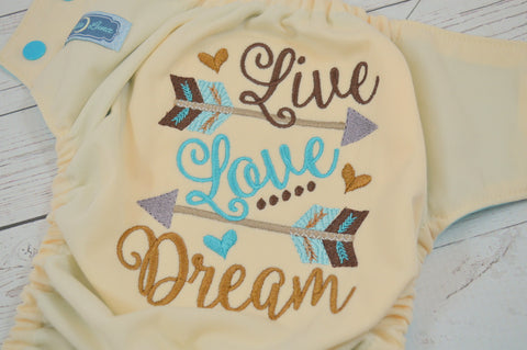 Live, Love, Dream (ivory outer, two-toned snaps aqua caps / seaspray pieces)<br>Embroidered, One Size Pocket Diaper<br>Instock and Ready to Ship