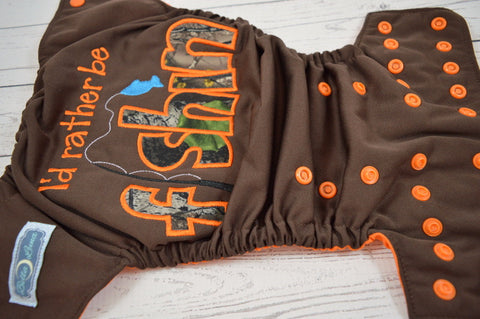 "**SECONDS** (1) Orange ""I'd Rather be Fishin'"" Embroidered (brown pul, orange awj & snaps)<br>One Size Pocket Diaper<br>Instock and Ready to Ship"