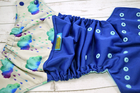 Royal Acid Rain ( royal outer - two-toned snaps -  royal caps / seaspray pieces)<br>Wrap Around, OS Pocket Diaper<br>Instock and Ready to Ship