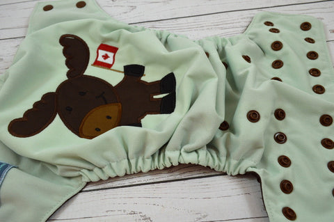 **SECONDS** Moose Embroidered (sage pul, brown awj & snaps)<br>One Size Pocket Diaper<br>Instock and Ready to Ship