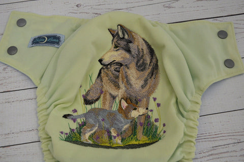 Celery Spring Wolf (Outer- Celery, Inner- Light Blue, Snaps- Silver <br>Embroidered, One Size Pocket Diaper<br>Instock and Ready to Ship