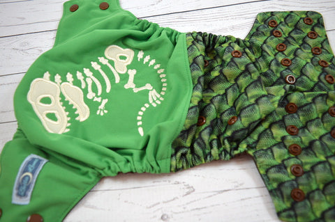 **SECONDS** Dino Bones & Scales Embrodiered Half and Half (brown awj & snaps)<br>One Size Pocket Diaper<br>Instock and Ready to Ship