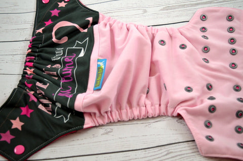 I Just Turned 2, (Light Pink Outer, Two Toned Snaps -Hot Pink Caps/Silver Pieces)<br>Wrap Around, OS Pocket Diaper<br>Instock and Ready to Ship