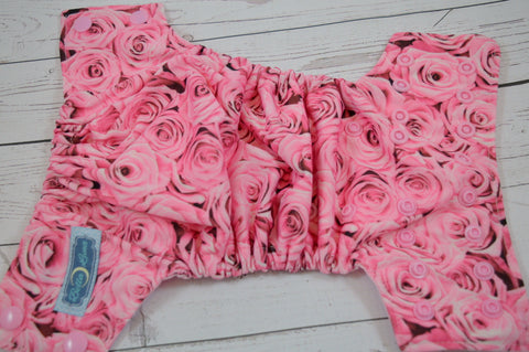 Newborn/Size 1-  Pink Roses (light pink snaps)<br>Traditional Size One Pocket Diaper<br>Instock and Ready to Ship