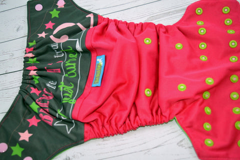 EBB- I Just Turned 2, (Magenta Outer, Two Toned Snaps -Light Pink Caps/Spring Green Pieces)<br>Wrap Around, OS Pocket Diaper<br>Instock and Ready to Ship