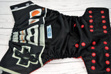 Big Controllers (black outer, two-toned snaps - silver caps / red pieces)<br>Wrap Around, One Size Pocket Diaper<br>Instock and Ready to Ship