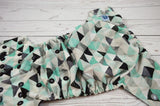 Seaspray Geodes ( two-toned snaps- silver caps / black pieces) <br>Traditional, One Size Pocket Diaper<br>Instock and Ready to Ship