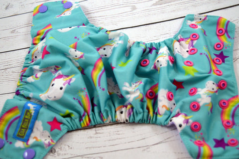 Newborn/Small, Size 1- Unicorn Close-Up (two-toned snaps - medium purple caps / hot pink pieces)<br>Traditional, Size 1 Pocket Diaper<br>Instock and Ready to Ship
