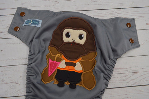 Bearded Giant (gray pul, brown awj & snaps)<br>Embroidered, One Size Pocket Diaper<br>Instock and Ready to Ship