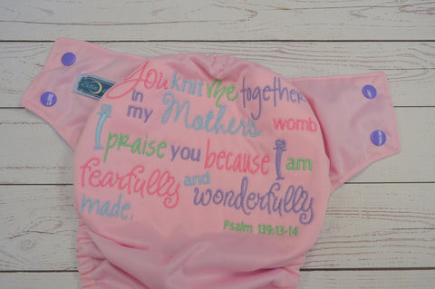 Pink Psalm 139 (light pink pul, lavender awj, med purple snaps)<br>Embroidered, One Size Pocket Diaper<br>Instock and Ready to Ship
