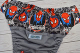 Spidey Senses (gray pul, royal awj, two toned snaps; white caps, red pieces)<br>Wrap Around, One Size Pocket Diaper<br>Instock and Ready to Ship