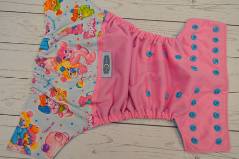 Pink Poppleslicious Bears (raspberry pul, aqua awj, two toned snaps; violet caps, aqua pieces)<br>Wrap Around, One Size Pocket Diaper<br>Instock and Ready to Ship