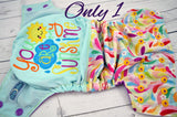 Springtime Sunshine (embroidered - two-toned snaps - violet caps / marigold pieces)<br>Embroidered Half & Half, One Size Pocket Diaper<br>Instock and Ready to Ship