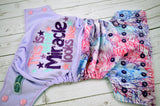 Miracles Happen  (embroidered - two-toned snaps - light pink caps / imperial pieces) <br>Embroidered Half & Half, One Size Pocket Diaper<br>Instock and Ready to Ship