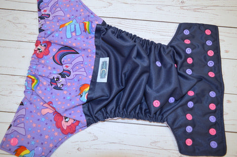 Twilight Pony (navy pul, lavender awj, hot pink and lavender alternating snaps)<br>Wrap Around, One Size Pocket Diaper<br>Instock and Ready to Ship