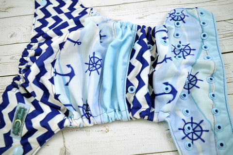 Hold On Little Sailor (two-toned snaps- royal caps / light blue pieces) <br>Boutique Scrappy, One Size Pocket Diaper<br>Instock and Ready to Ship