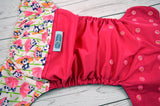 Magenta Panda Party (magenta outer , two-toned snaps - apple green caps / hot pink caps) <br>Wrap Around, One Size Pocket Diaper<br>Instock and Ready to Ship