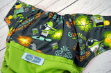 Tooty Man (ribbit outer, two-toned snaps, marigold caps / orange pieces ) <br>Wrap Around, One Size Pocket Diaper<br>Instock and Ready to Ship