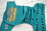If it Fits, I Sits (jade outer, black inner & snaps) <br>Embroidered, One Size Pocket Diaper<br>Instock and Ready to Ship