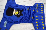 Blue Bat Boy (royal outer, black inner, two toned black and marigold snaps) <br>Embroidered, One Size Pocket Diaper<br>Instock and Ready to Ship