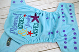 GLITTER Mermaid Kisses (seaspray outer, lavender inner, med purple) <br>Embroidered, One Size Pocket Diaper<br>Instock and Ready to Ship