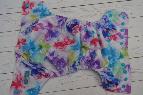 Watercolor Butterflies (aqua awj & snaps)<br>Traditional, One Size Pocket Diaper<br>Instock and Ready to Ship