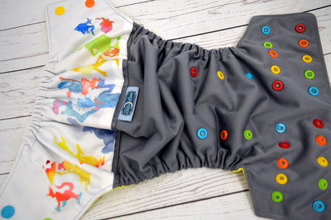 Watercolor Hat Friends (gray outer, citron inner, insane multi snaps) <br>Wrap Around, One Size Pocket Diaper<br>Instock and Ready to Ship