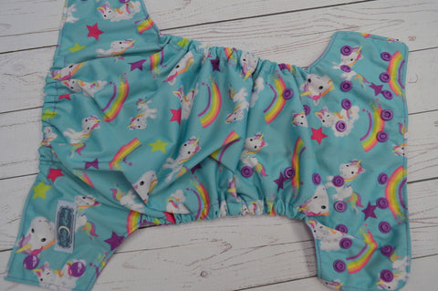 Pastel Rainbow Unicorn (violet awj & snaps)<br>Traditional, One Size Pocket Diaper<br>Instock and Ready to Ship