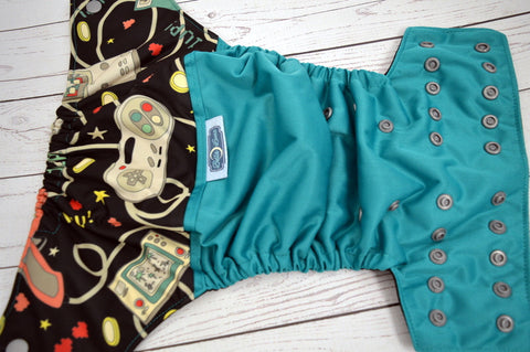 Retro Controller (jade outer, black inner, silver snaps) <br>Wrap Around, One Size Pocket Diaper<br>Instock and Ready to Ship