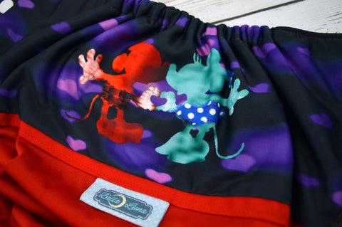 Mice in Love Red (red outer, two-toned snaps - white caps / royal pieces)<br>Wrap Around, One Size Pocket Diaper<br>Instock and Ready to Ship